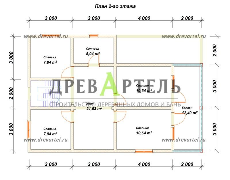 План 2-го этажа - Дом из бруса 8х10 с террасой и балконом