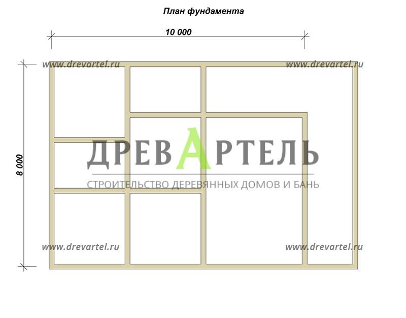 План ленточного фундамента - Дом из бруса 8х10 с террасой и балконом