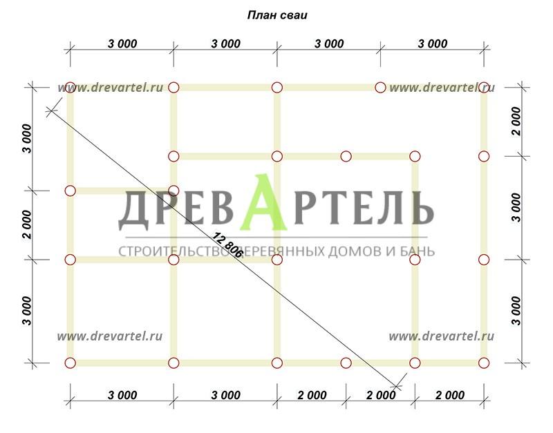 План свайного фундамента - Сруб дома 8х10 из бревна