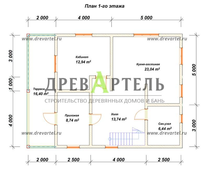 План 1-го этажа - Сруб дома 8х11 из бревна с террасой