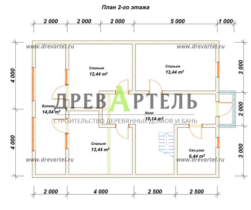 План 2-го этажа - Проект дома из бруса 8х11 с террасой