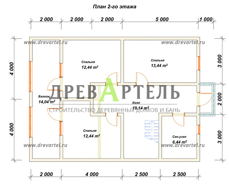 План 2-го этажа - Сруб дома 8х11 из бревна с террасой