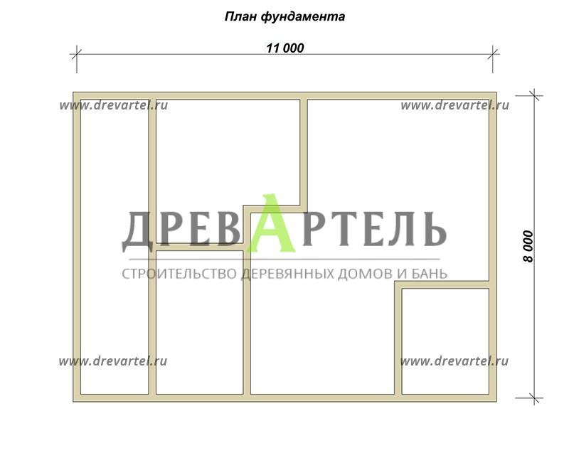 План ленточного фундамента - Проект дома из бруса 8х11 с террасой