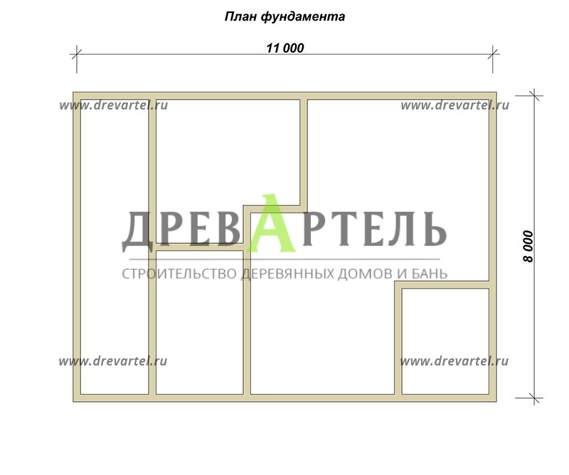 План ленточного фундамента - Сруб дома 8х11 из бревна с террасой