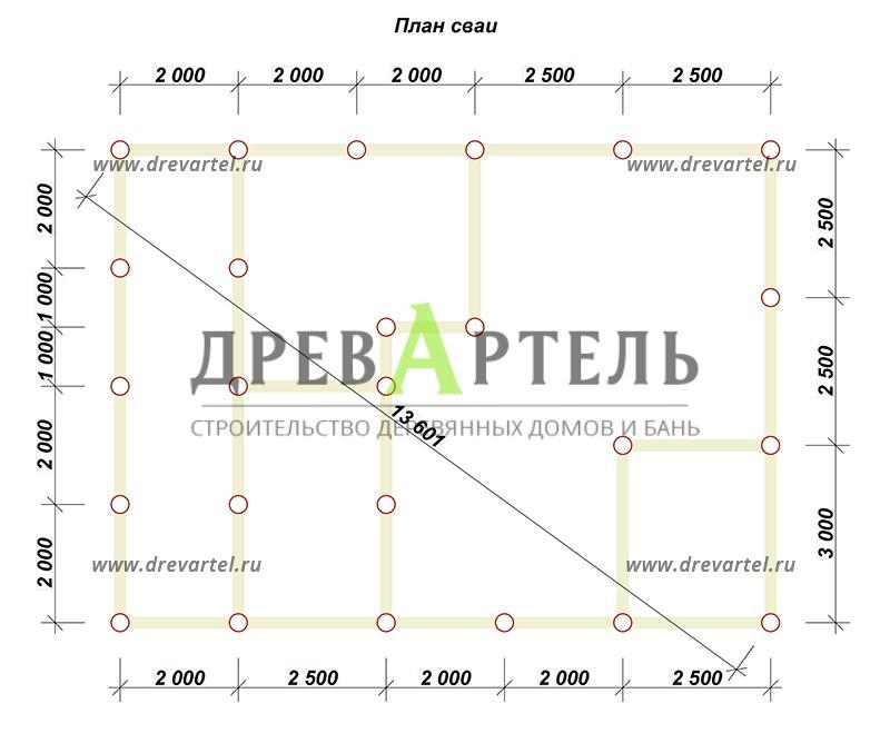 План свайного фундамента - Проект дома из бруса 8х11 с террасой