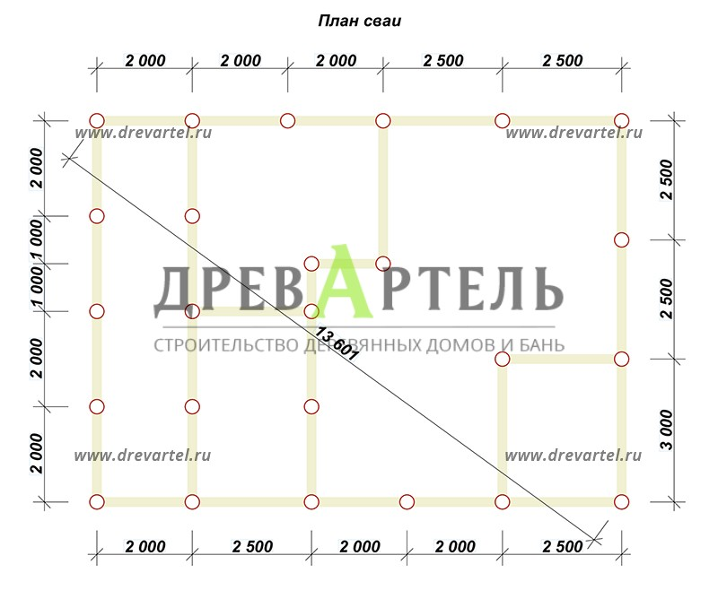 План свайного фундамента - Сруб дома 8х11 из бревна с террасой