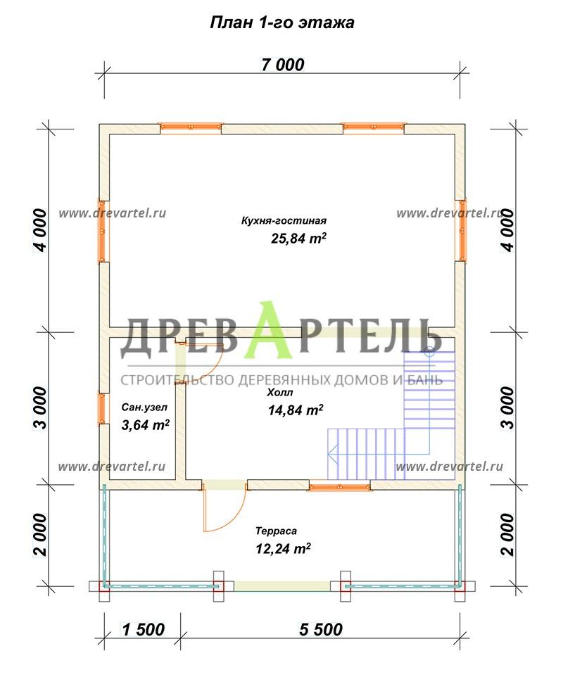 План 1-го этажа - Проект дома из бруса 7х9 с террасой и балконом