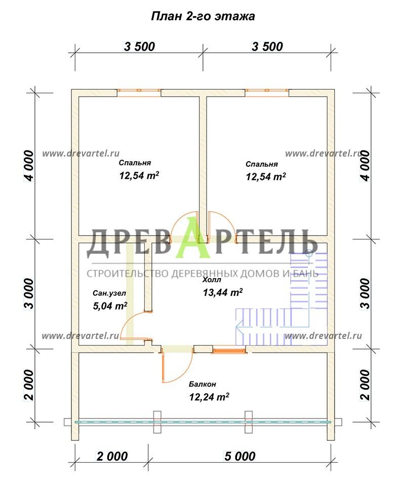 План 2-го этажа - Проект дома из бруса 7х9 с террасой и балконом
