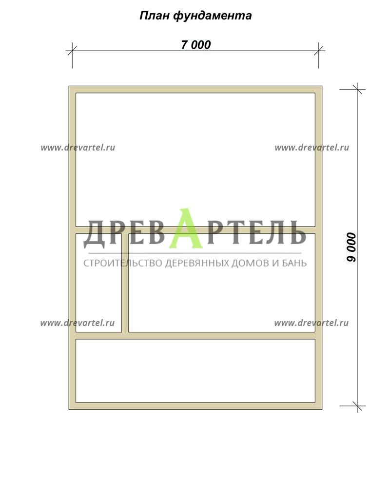План ленточного фундамента - Проект дома из бруса 7х9 с террасой и балконом