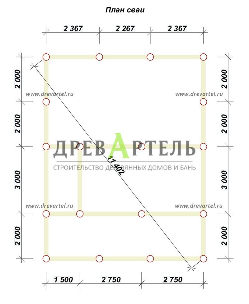 План свайного фундамента - Проект дома из бруса 7х9 с террасой и балконом