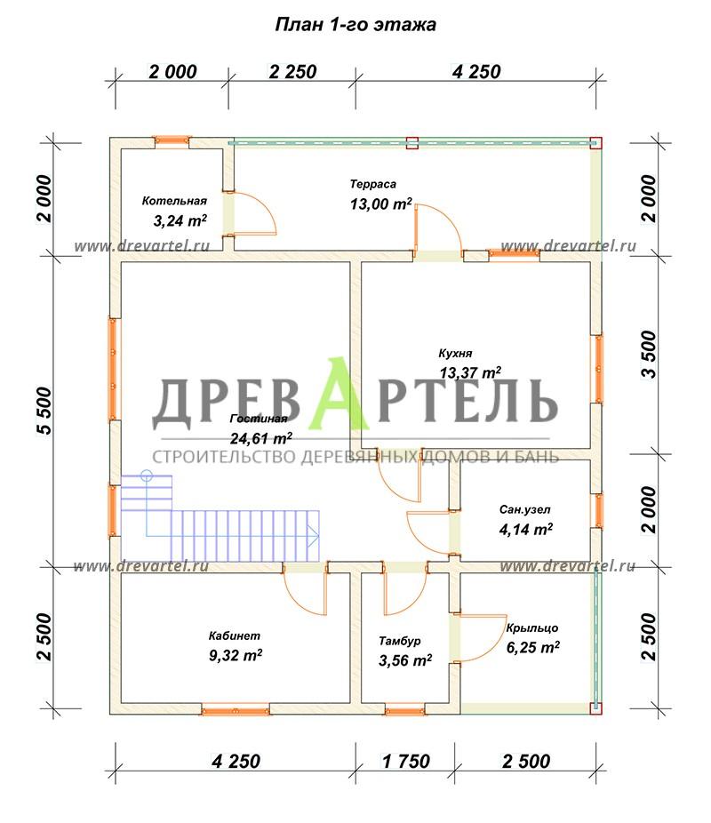 План 1-го этажа - Проект дома 8х10 с котельной
