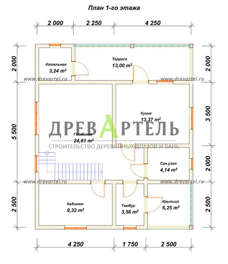 План 1-го этажа - Двухэтажный дом из бревна 8х10