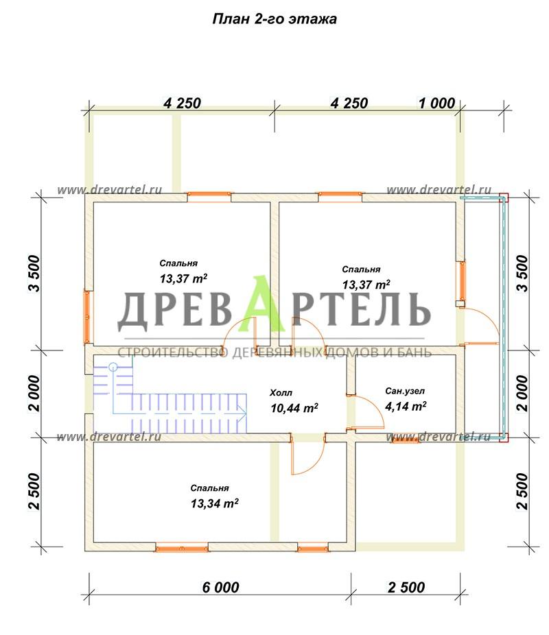 План 2-го этажа - Двухэтажный дом из бревна 8х10