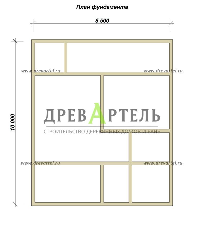 План ленточного фундамента - Проект дома 8х10 с котельной