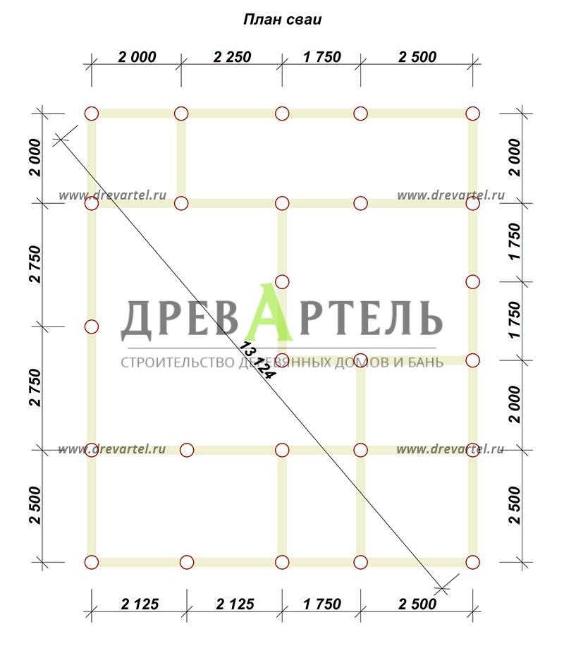 План свайного фундамента - Проект дома 8х10 с котельной