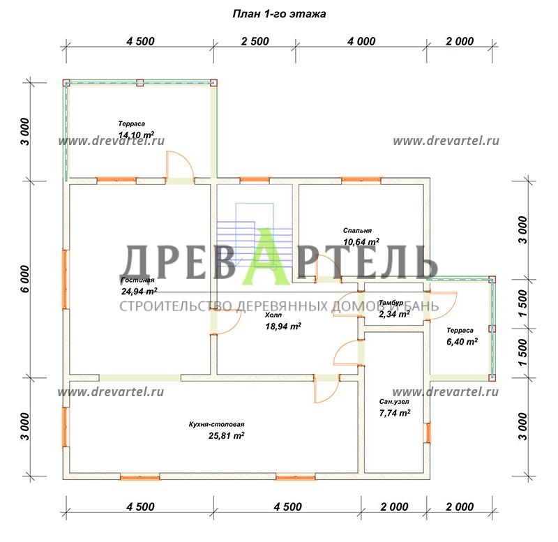 План 1-го этажа - Дом из бревна 11 на 9 с террасой