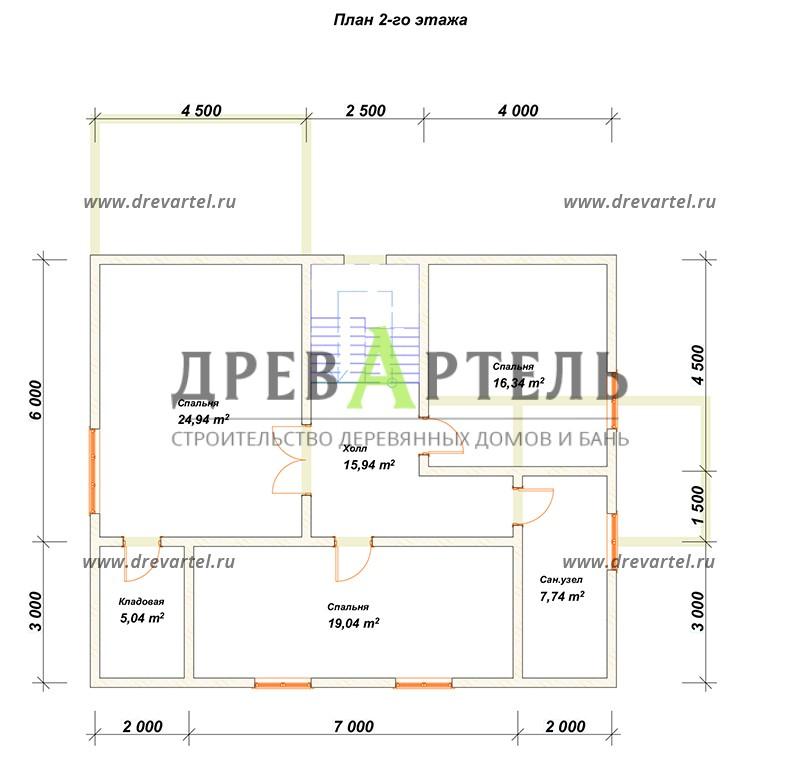 План 2-го этажа - Дом из бревна 11 на 9 с террасой