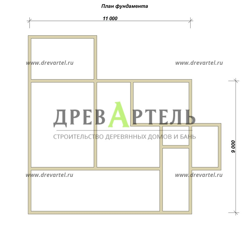 План ленточного фундамента - Дом из бревна 11 на 9 с террасой