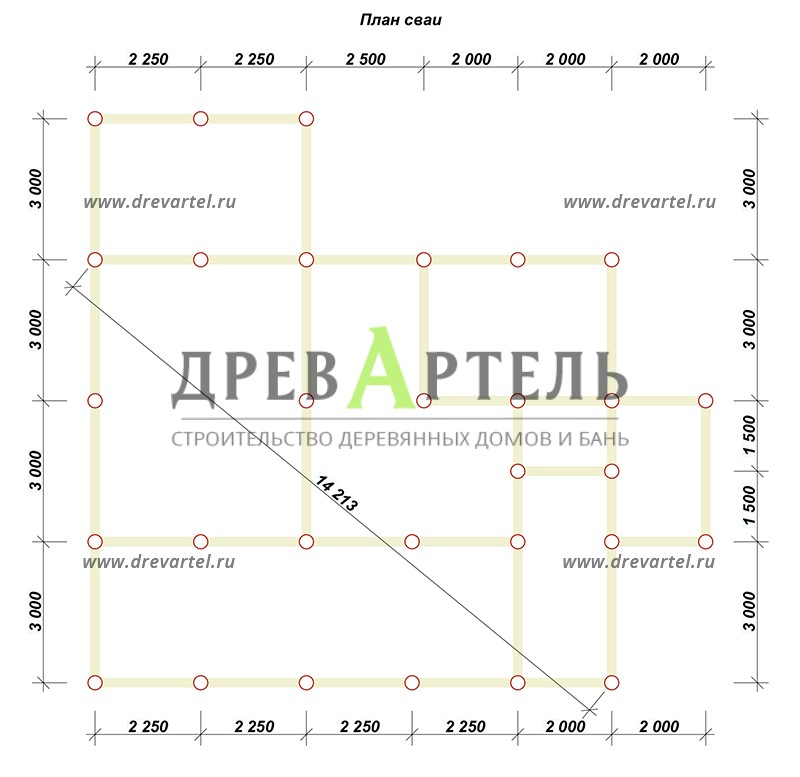 План свайного фундамента - Дом из бревна 11 на 9 с террасой