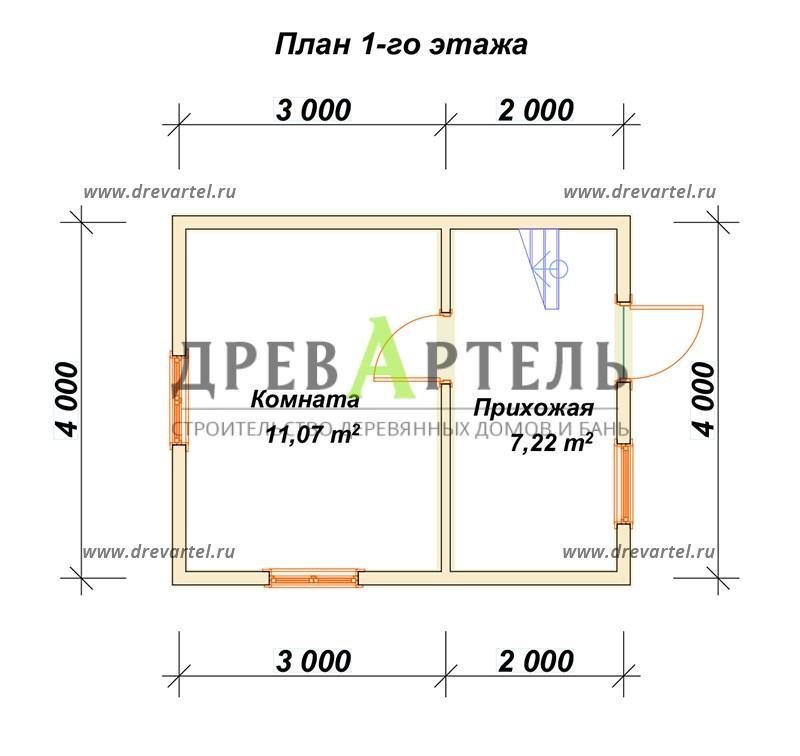 План 1-го этажа - Загородный дом из бруса 4х5