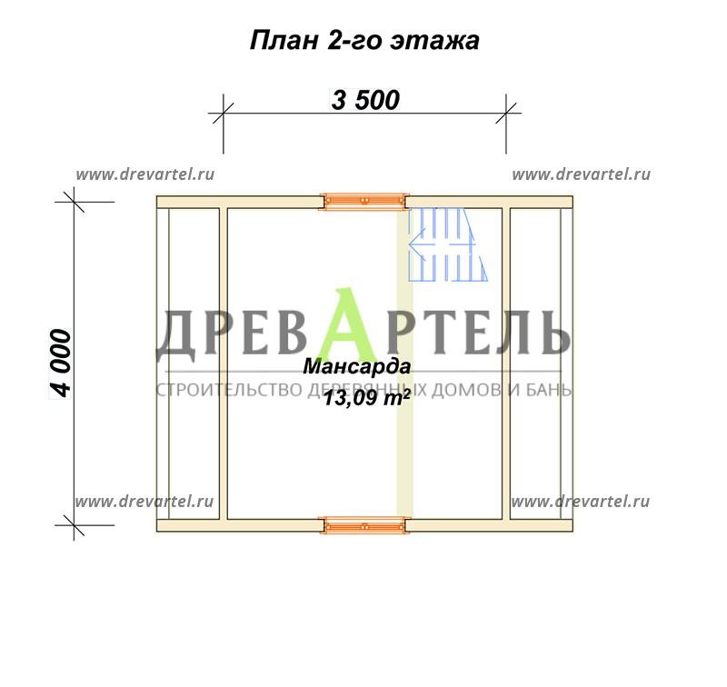 План 2-го этажа - Загородный дом из бруса 4х5