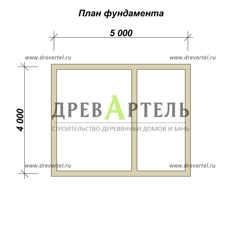 План ленточного фундамента - Загородный дом из бруса 4х5