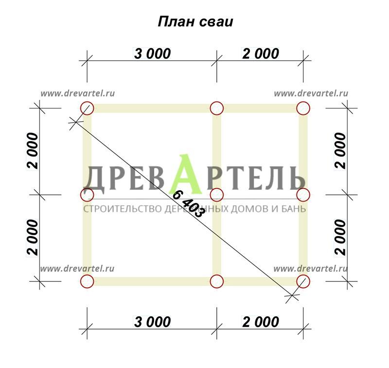 План свайного фундамента - Загородный дом из бруса 4х5