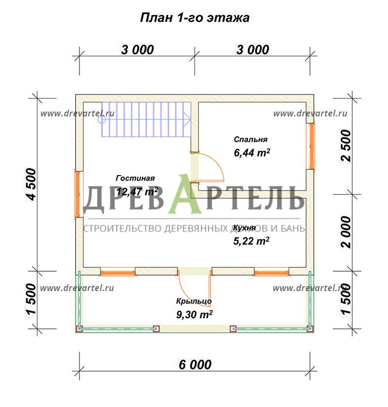 План 1-го этажа - Дом из бруса 6х6 с балконом