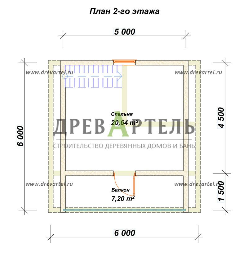План 2-го этажа - Дом из бруса 6х6 с балконом