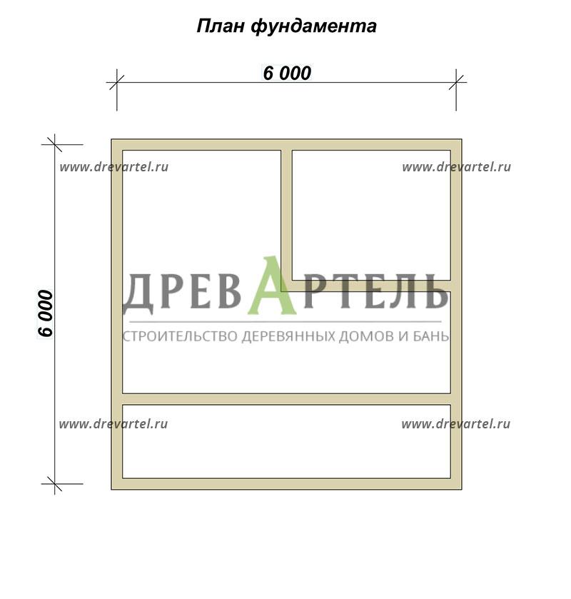 План ленточного фундамента - Дом из бруса 6х6 с балконом