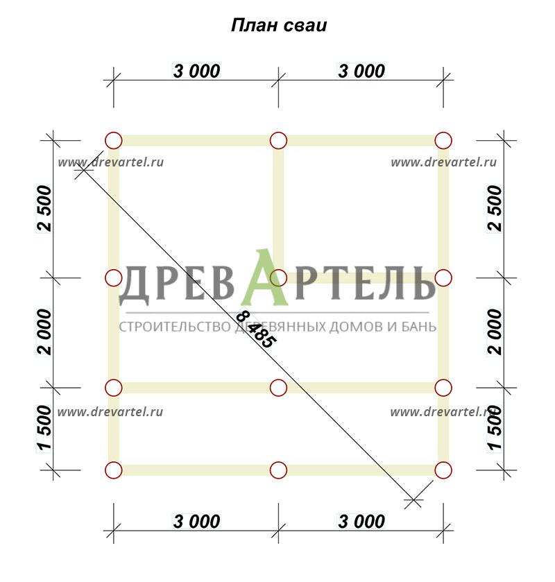 План свайного фундамента - Дом из бруса 6х6 с балконом
