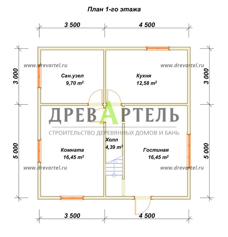 План 1-го этажа - Дом из бруса 8х8 с двумя этажами