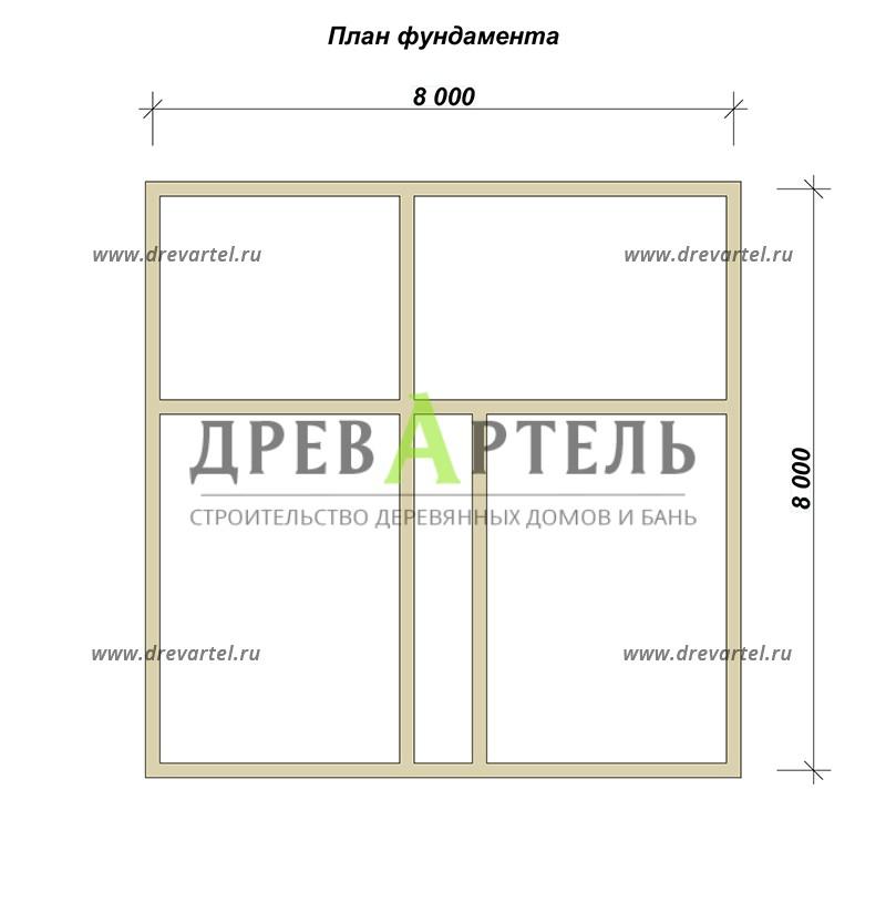 План ленточного фундамента - Дом из бруса 8х8 с двумя этажами