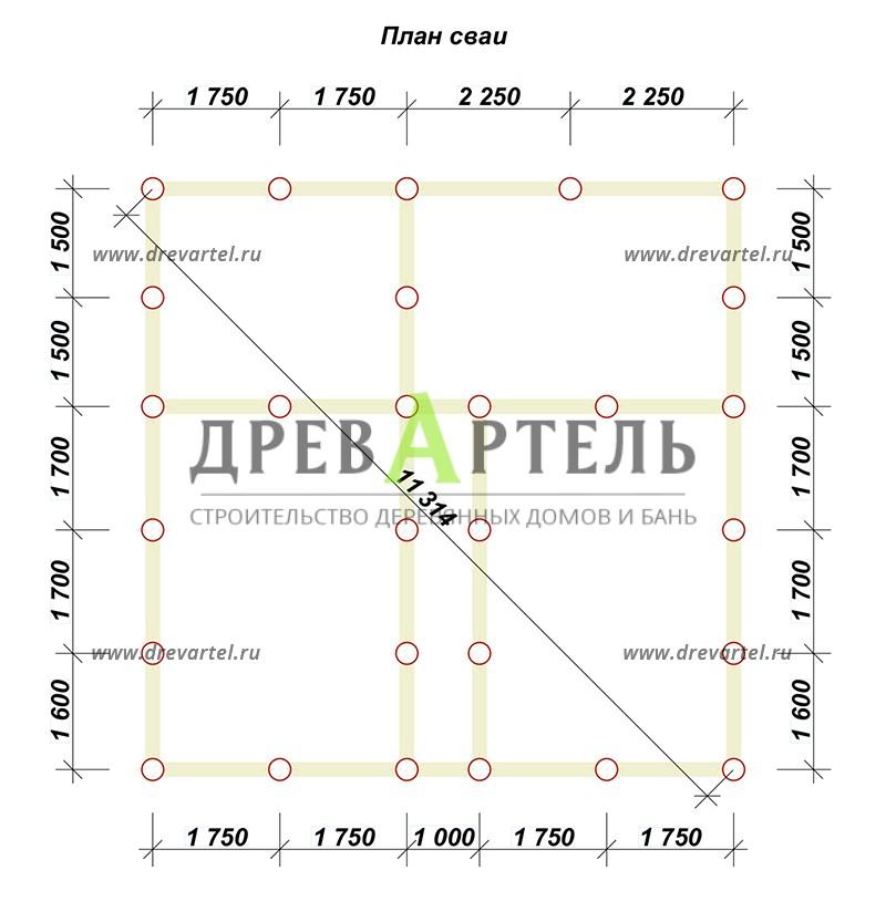 План свайного фундамента - Дом из бруса 8х8 с двумя этажами