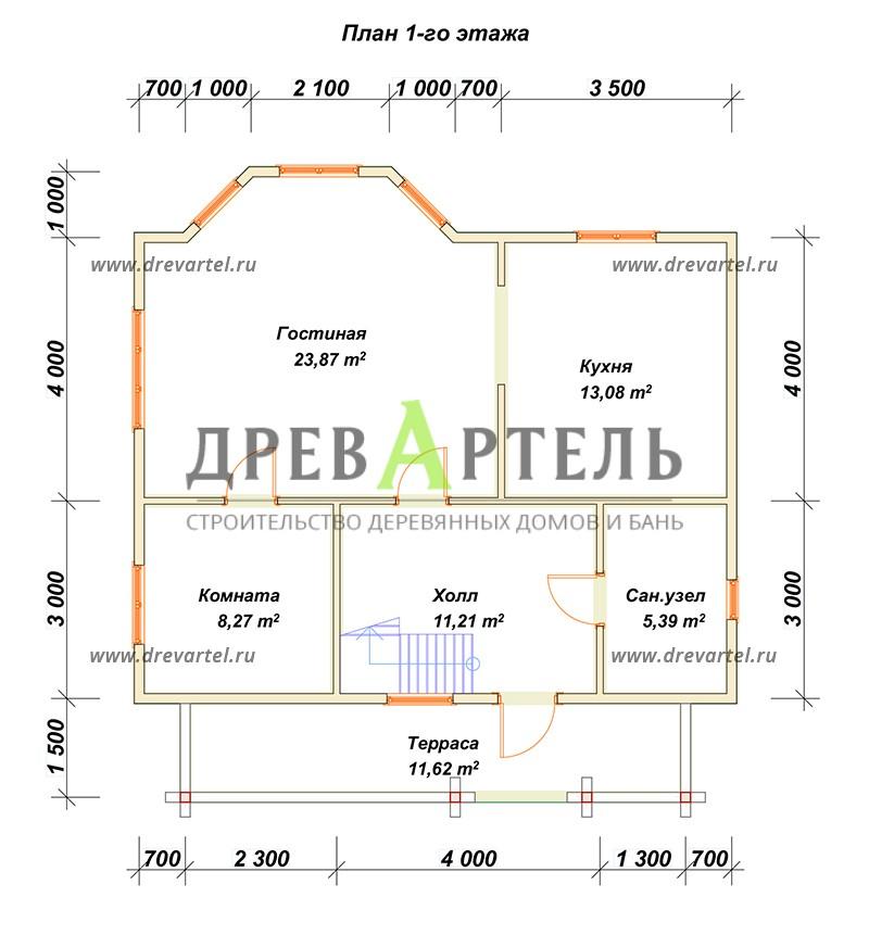 План 1-го этажа - Дом из бруса 7х9 с эркером и террасой