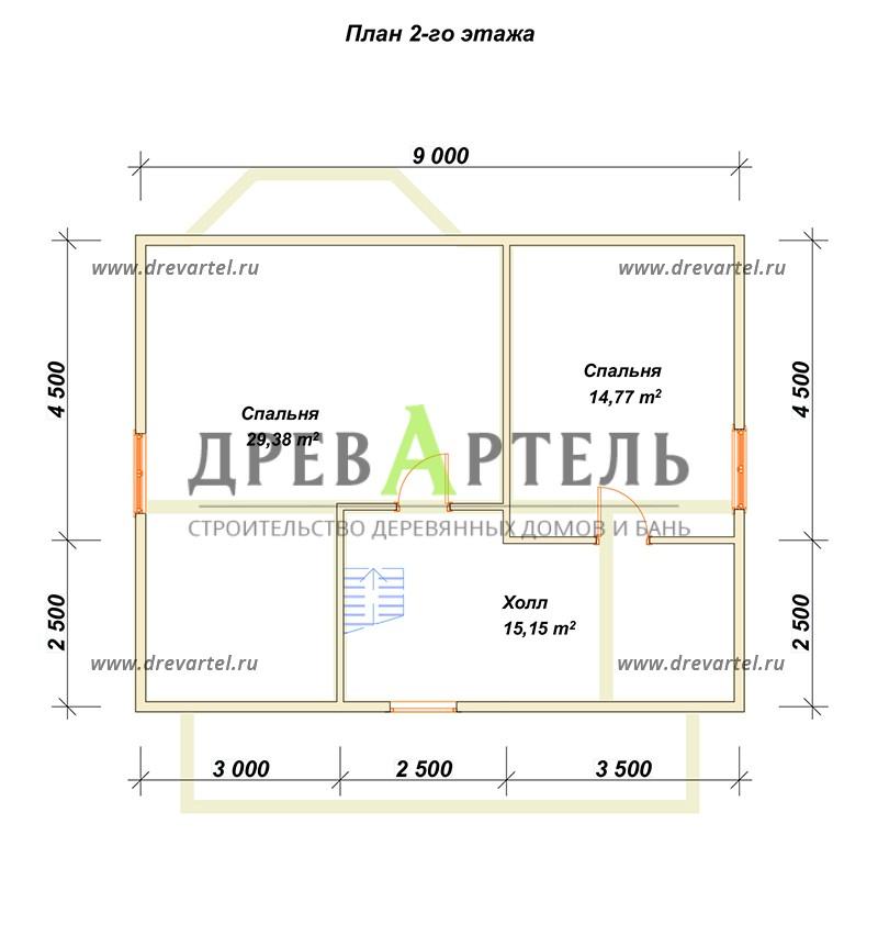 План 2-го этажа - Дом из бруса 7х9 с эркером и террасой