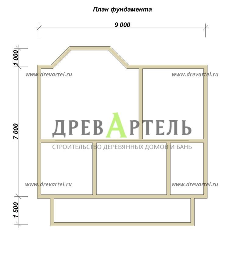 План ленточного фундамента - Дом из бруса 7х9 с эркером и террасой