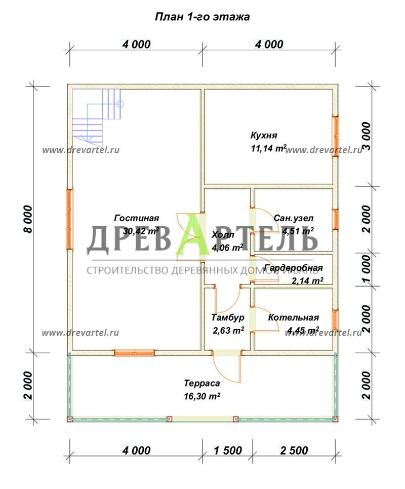 План 1-го этажа - Дом с террасой и мансардой из бруса 8х8