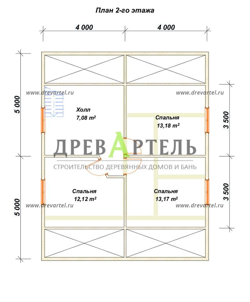 План 2-го этажа - Дом с террасой и мансардой из бруса 8х8
