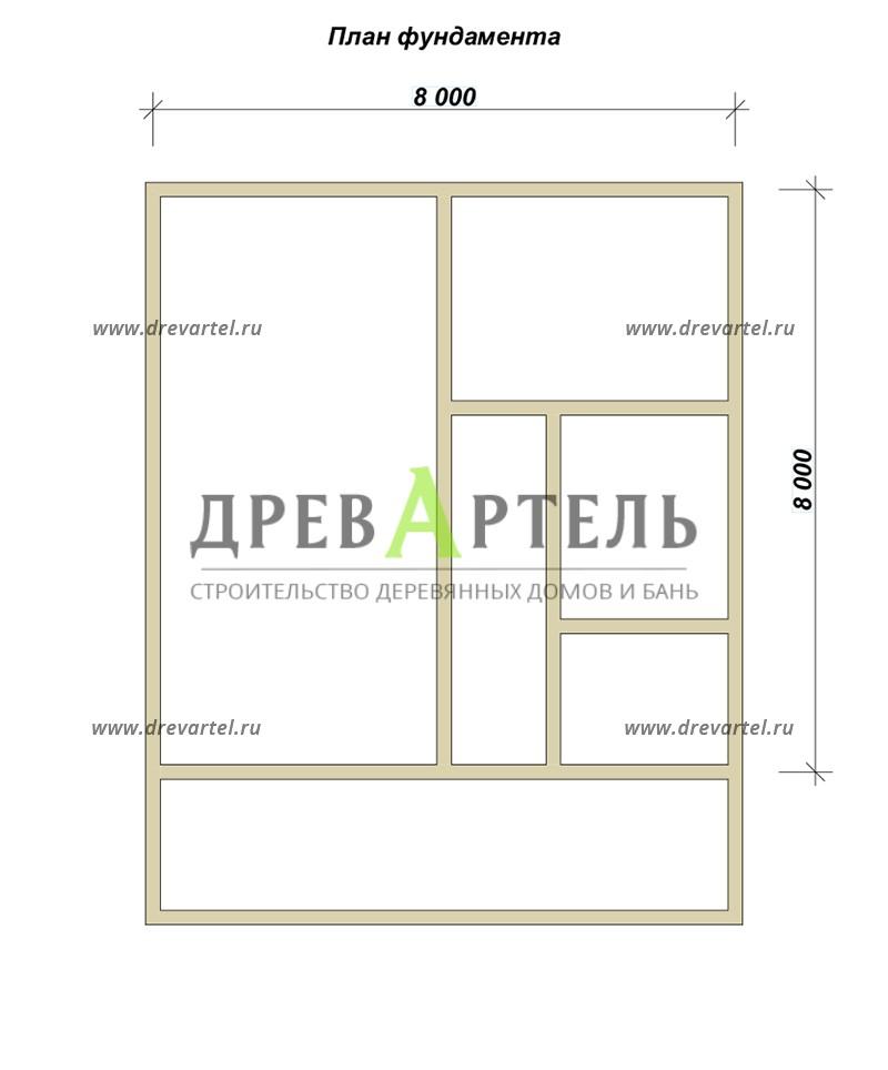 План ленточного фундамента - Дом с террасой и мансардой из бруса 8х8