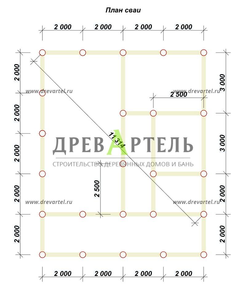 План свайного фундамента - Дом с террасой и мансардой из бруса 8х8