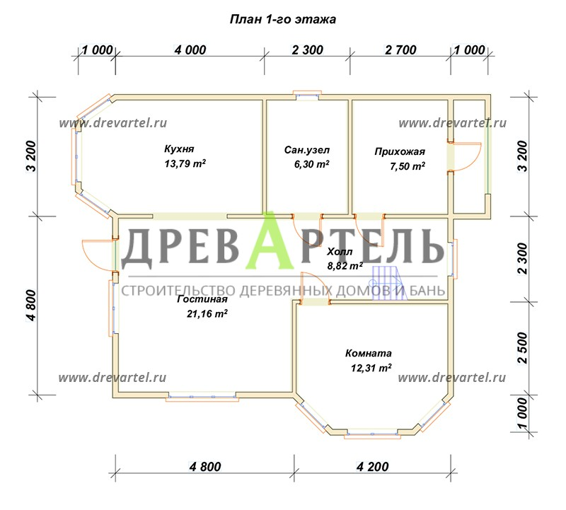 План 1-го этажа - Двухэтажный дом из бруса 8х9