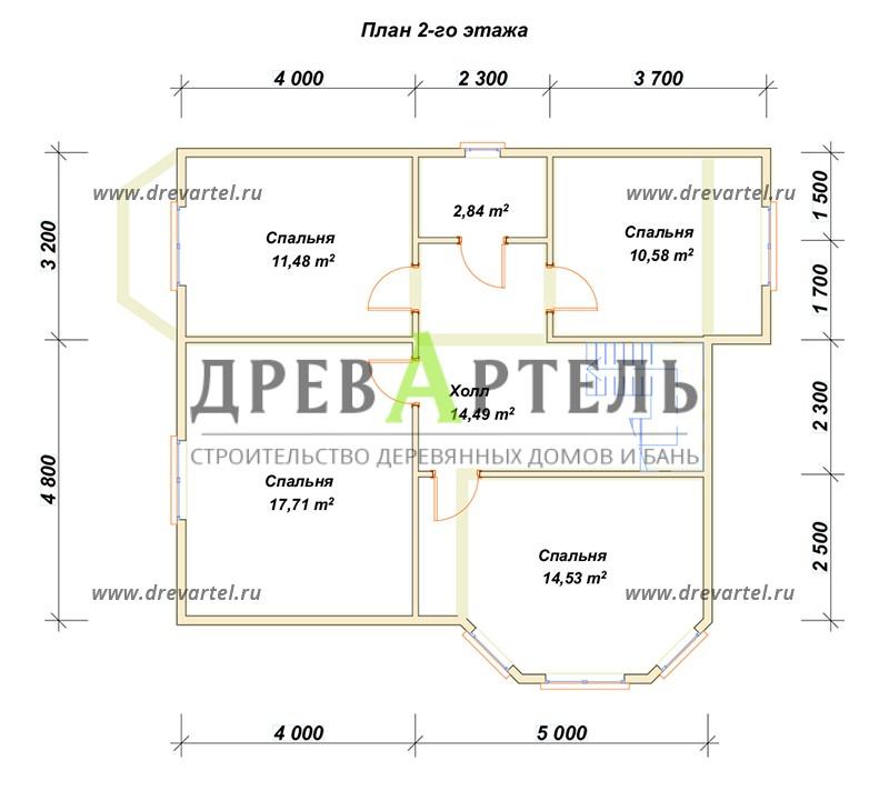 План 2-го этажа - Двухэтажный дом из бруса 8х9