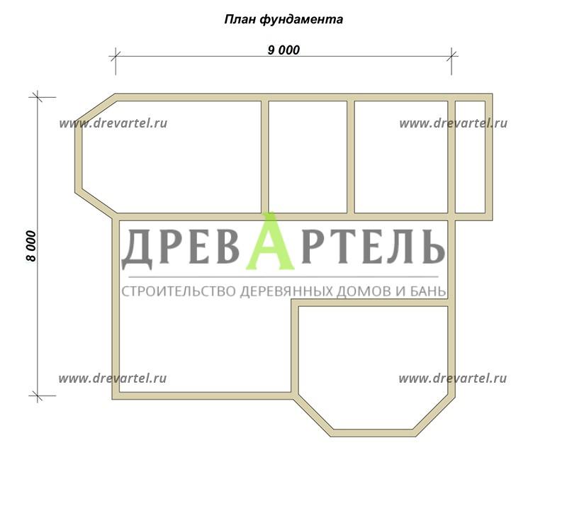План ленточного фундамента - Двухэтажный дом из бруса 8х9