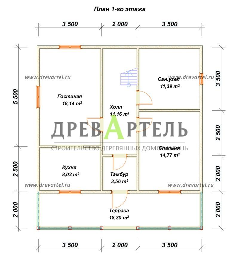 План 1-го этажа - Дом 8х9 в полтора этажа с отличной планировкой