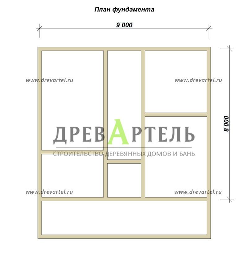 План ленточного фундамента - Дом 8х9 в полтора этажа с отличной планировкой