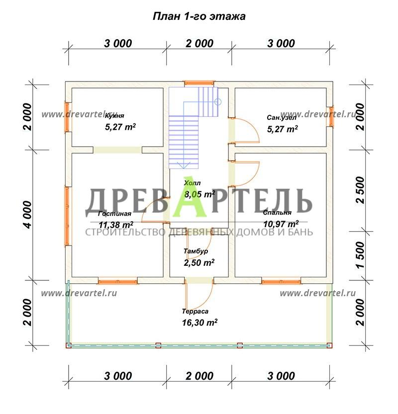 План 1-го этажа - Деревянный дом из бревна 6х8 с мансардой