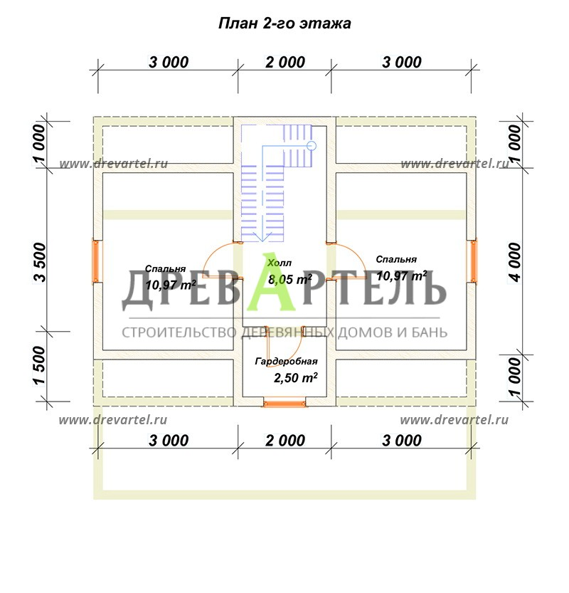 План 2-го этажа - Деревянный дом из бревна 6х8 с мансардой