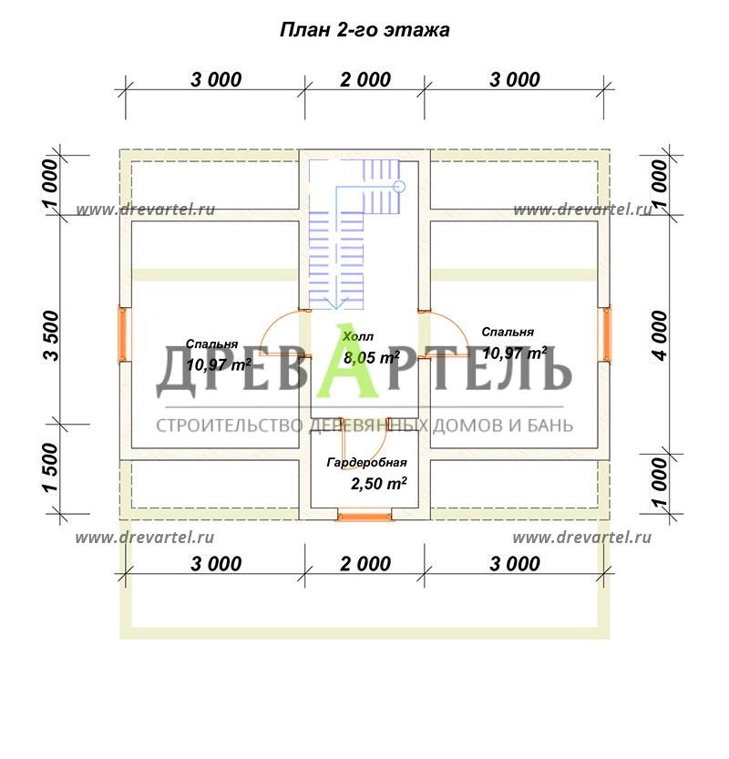 План 2-го этажа - Дом из бруса 6х8 с мансардой и кукушкой