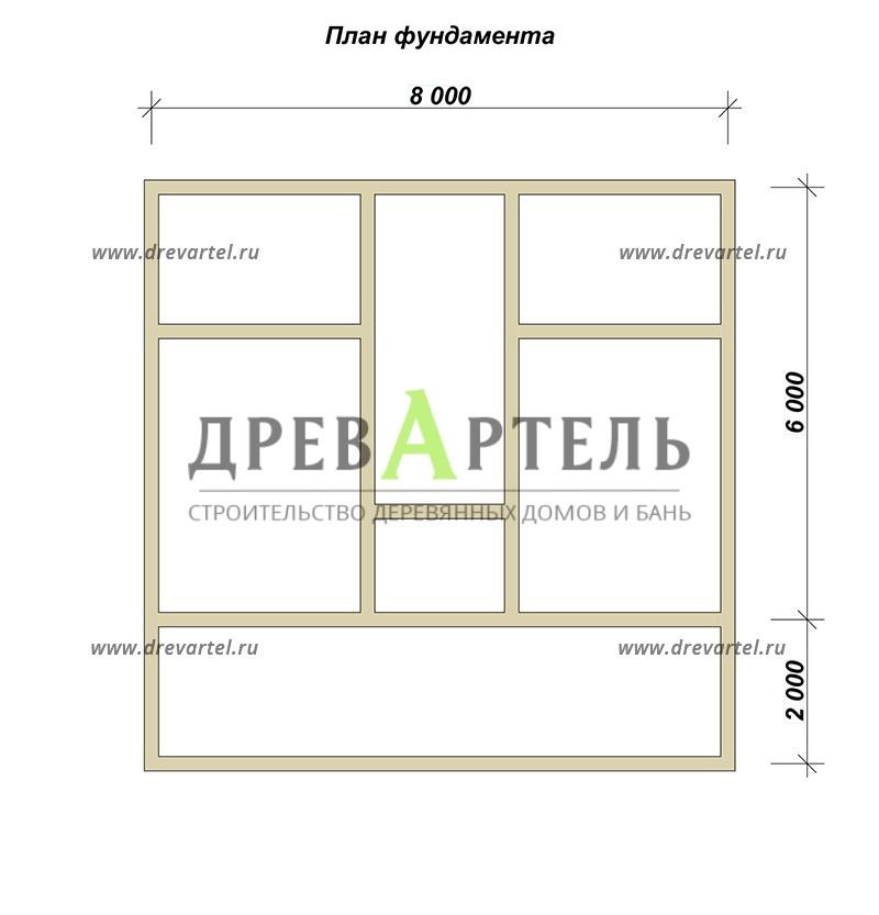 План ленточного фундамента - Дом из бруса 6х8 с мансардой и кукушкой